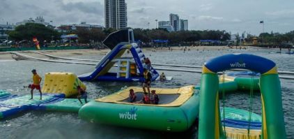Aquasplash: Australia's first open-water inflatable slides fun-park. Centrally located on the beach in Southport.