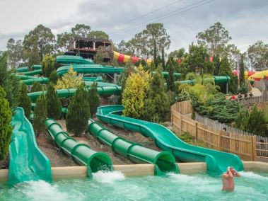 Rocky Mountain themed River Rapids slide