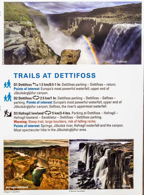 Trails available from Dettifoss carpark (via Road#862)