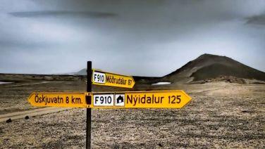 Signpost at Dreki campsite. It is 8km from the Askja caldera carpark (and Öskjuvatn lake).
