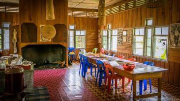 Dinning area. The Ngimat Ayu House, Bario (Sarawak, Malaysia)