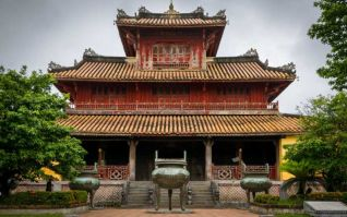 Hien Lam Pavilion and the Nine Dynastic Urns (only three urns seen in pic). Hue Imperial City, Vietnam.