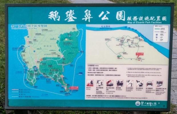 Map of Eluanbi Park (鵝鑾鼻), Kenting National Park (Taiwan)