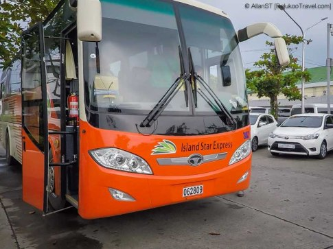 Island Star Express bus. For transfer between Kalibo Airport to Caticlan Jetty. (Philippines) @Sep2017