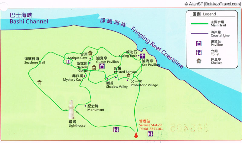 Map of Eluanbi Park (鵝鑾鼻), Kenting National Park (Taiwan)