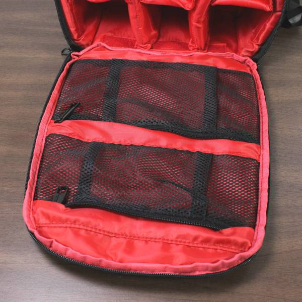 Small Indepman Camera Backpack Bag inside zippered carriers