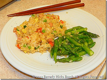 Stir Fry Rice with Stri Fry Asapragus with garlic