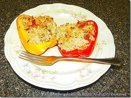 Sausage and Rice Stuffed Peppers plated