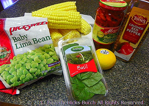 What you need for the corn lima bean salad