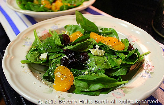 baby spinach salad with honey raspberry salad C