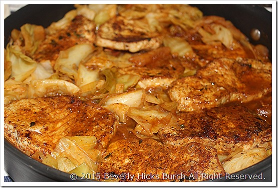 Add pork chops back to pan