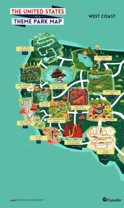 Outdoors Adventure A Theme Park Map Of The Usa