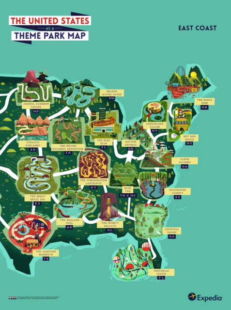 Outdoor Adventure A Theme Park Map Of The United States - Map of the east coast of the united states