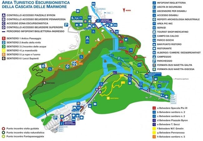 mappa delle cascate delle marmore