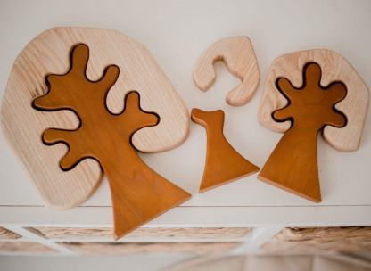 two tone wooden trees in play qtoys