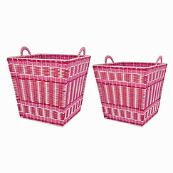 pink and white interlaced basket