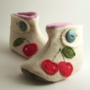 Cherry--Button Strap Baby Boots