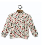 mini mode Girls Poppy Print Button Up Top
