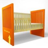 orange Alex Crib by duc duc NYC with toddler rail