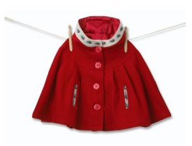 mini mode Girl's Red Pleat Cape