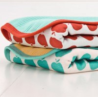 Gorgeous Organic Cotton Baby Receiving or Swaddling Blanket with Red or Green Fruit Detail by Green Baby