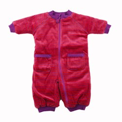 Ej Sikke Lej Purple and Red Striped Velour Padded Baby All in One