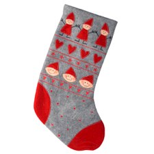Kids and Hearts Stocking Grey/Red