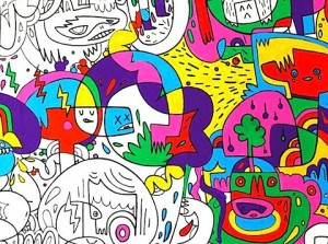 jon burgerman colouring-in wallpaper