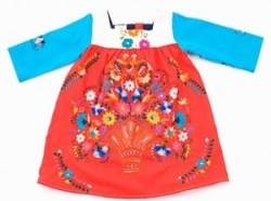 LOLA & JAMES Embroidered A-line 3/4 Sleeve Shift Dress