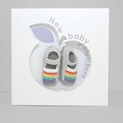 Gift-n-Card: Rainbow Striped knitted booties - Grey
