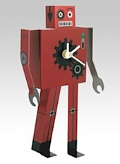 WhippetGrey Red Robot clock