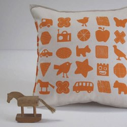 Shapes and Things Small Cushion by helen rawlingson