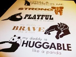 My Daddy Is . . . 8 X 10 Modern Artwork in Black and Khaki Featuring Animal Traits