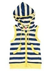 katvig - blue & cream stripe hooded vest top