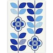 Blue Floral Stemprint Blank Greeting Card