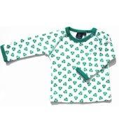 ej sikke lej long sleeved white and dark green nutty print t-shirt