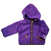 MALA purple fleece jacket with funky yellow and purple patterned lining