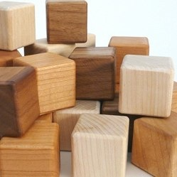 Tri-wood BLOCKS 27 piece Walnut, Cherry and Maple toy set
