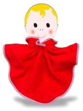 Scarlet red bib with scarlet red mini-gingham bias binding.