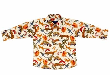 Little Man Shirt LS Cream Lizards