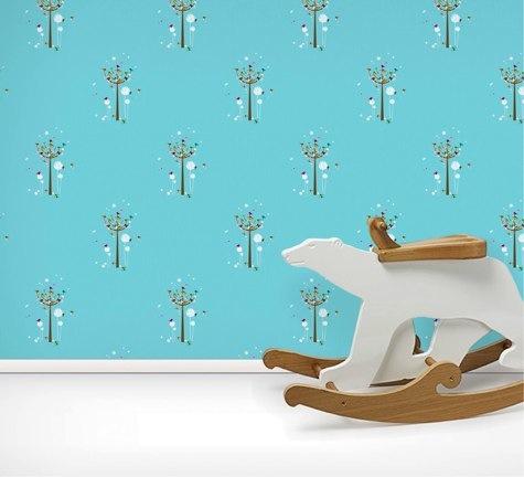 Birdie Tree Wallpaper and polar bear rocker
