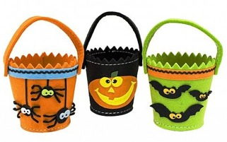 Set of Three Felt Halloween Buckets