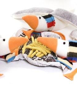 cardigan's woollen seagulls eating woollen fish and chips
