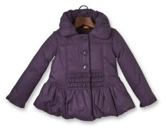 Girl's Vintage Puffball Coat in Purple