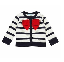 Topshop Mini Stripe Bow Cardigan