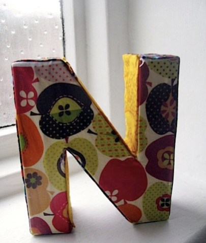 fabric covered letter by NML