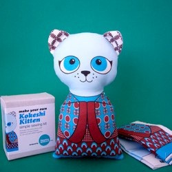 Kokeshi Kitten Sewing Kit - Blue