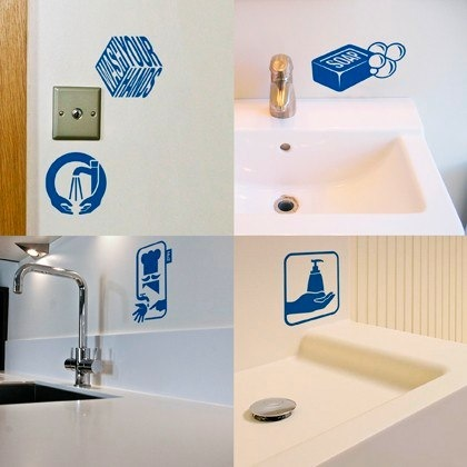 Beautiful wash your hands reminder stickers