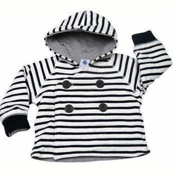 Striped cotton padded jacket - Petit Bateau