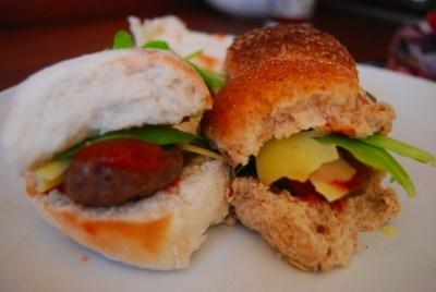 meatballs and mini burgers